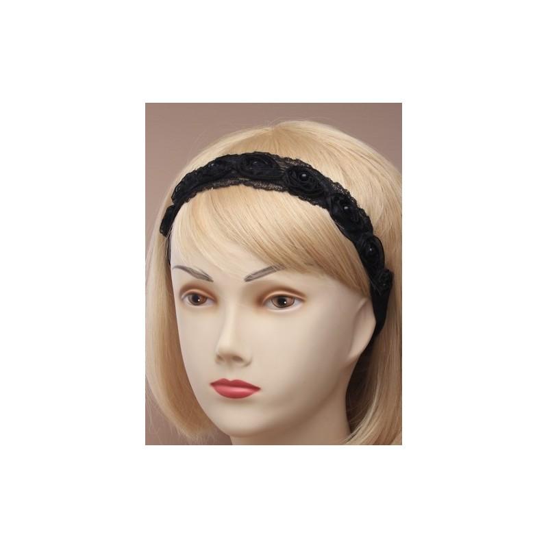 estiramiento bandeaux de encaje negro rosebud tejido.