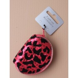 """black flock animal print and sequin d"""" shaped purse. in..."""