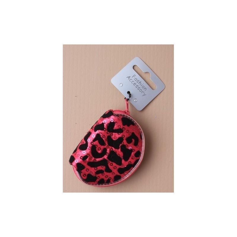 """d animal de impresión y lentejuela de rebaño negro""""en forma de bolsa. en rosa y morado y plata""""."""