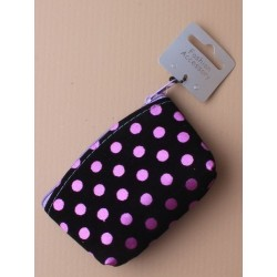 black flock fabric purse with coloured satin spots. in...