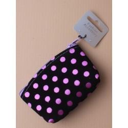 schwarze Herde Stoff Tasche mit farbigem satin Flecken. in rot/blau/lila und Pink.