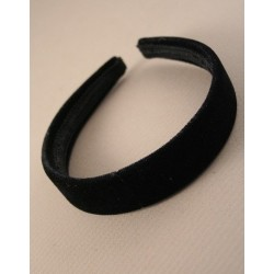 Plain Headband - Plain wide (2.5cm) Black velvet headband alice band
