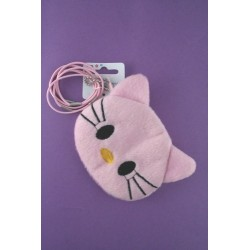 cat face purse with 6 elastics. in pink lilac yellow...