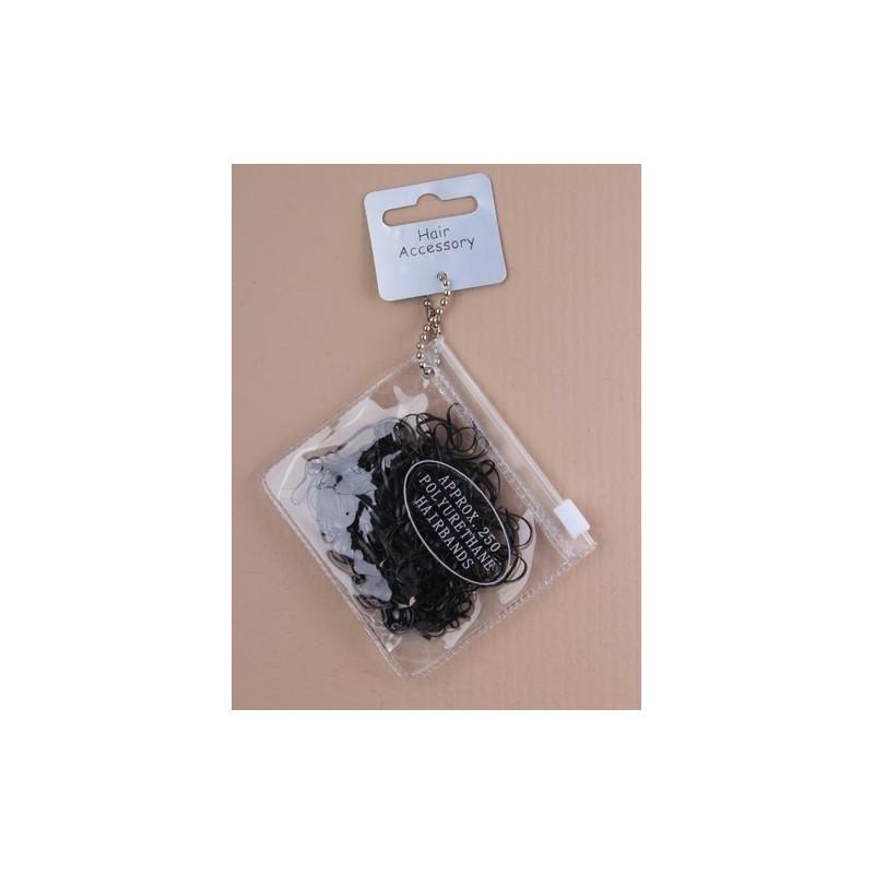 pung med 250 små sorte polyurethan bands