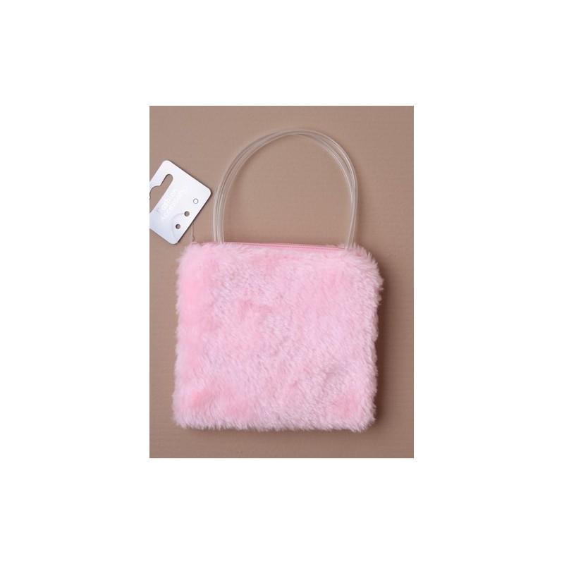 sac de tissu fourrure avec poignées en plastique. en rose/lilas et blanc.