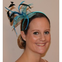 Fascinator Headband Hair Band - Large mesh fabric flower with feathers fascinator headband alice band
