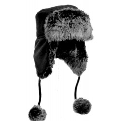 Pom Pom trapper hat black
