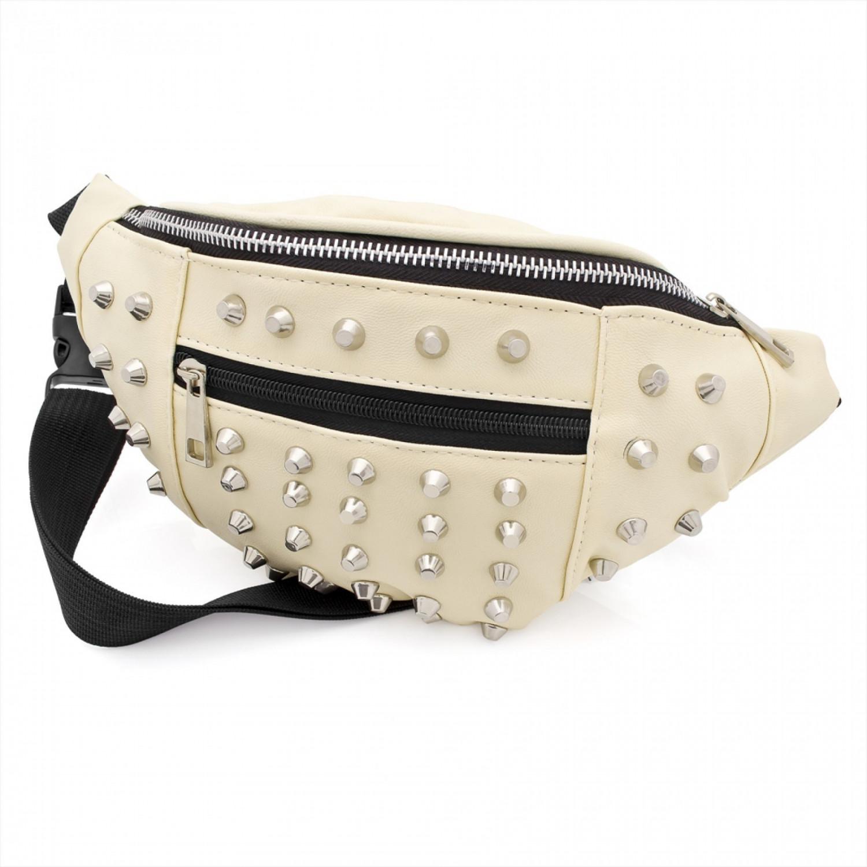 Bum Bag - Cream colour studded fanny pack bum bag.