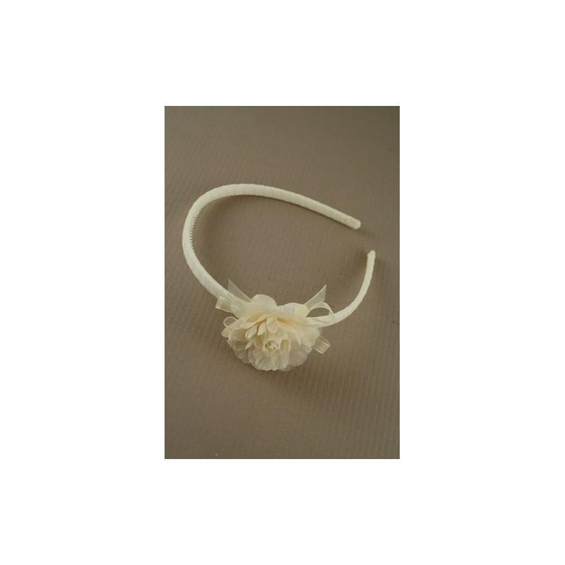 aliceband - flor de gasa en la crema de la cinta banda alice banda