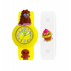 Moshi Monster Children's Quartz Watch with Yellow Dial Analogue Display and Yellow Silicone Strap