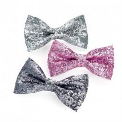 Three piece silver, pink and hematite grey colour glitter hair bow clip set. - (HA30536)