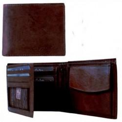 Dark Brown Leather WALLET Boy Men coin cash card wallet...