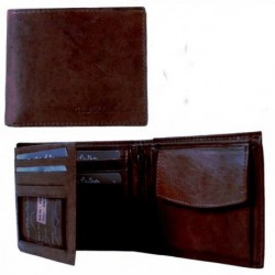 Dark Brown Leather WALLET Boy Men coin cash card wallet perfect present 10x12cm