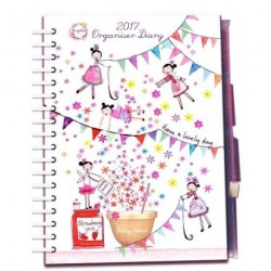 2017 Diary Daisy Patch Girl Fairy Flower Baking bunting Hard Back Wiro Journal