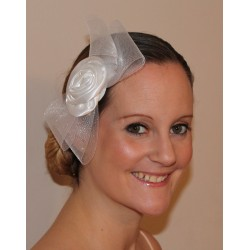 Fascinator Comb - Statement net bow (17cm) with large satin rosette comb fascinator