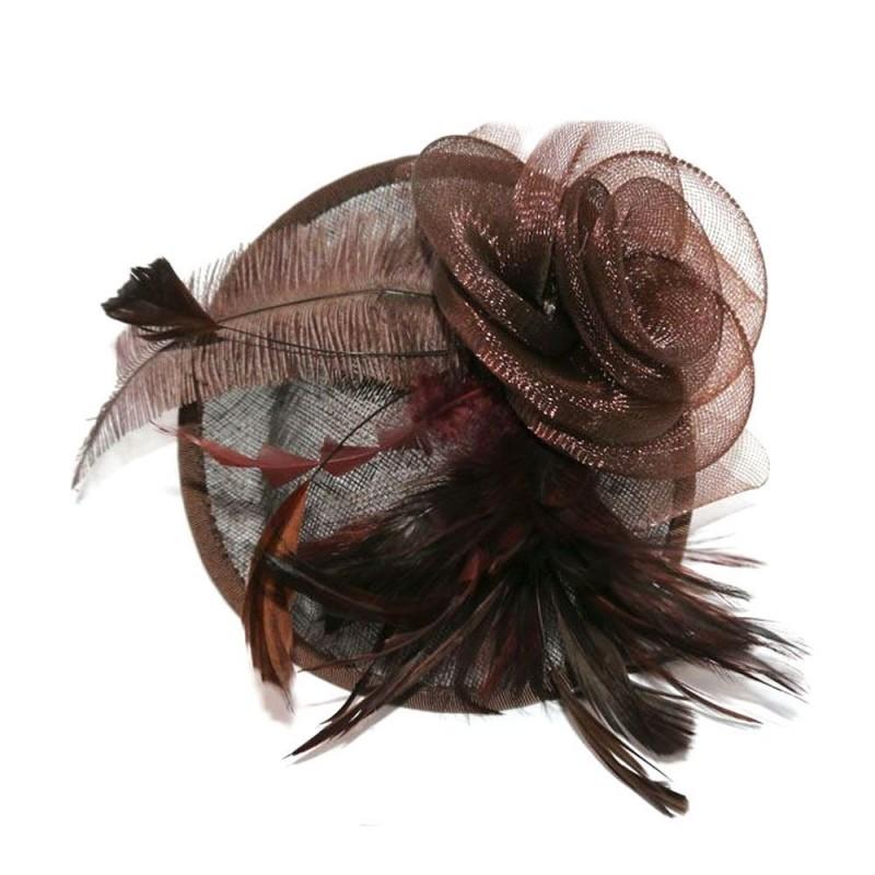 Hatinator Aliceband - brown handmade large net and feather hessian hatinator aliceband