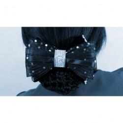 Bun Net Bow - Black Net Bow...