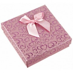 Gift Box - Light Pink Mini Ribbon Bow Heart print Card...