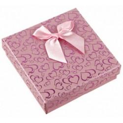 Gift Box - Light Pink Mini Ribbon Bow Heart print Card Box 9x9x2.6cm gift box Jewellery box