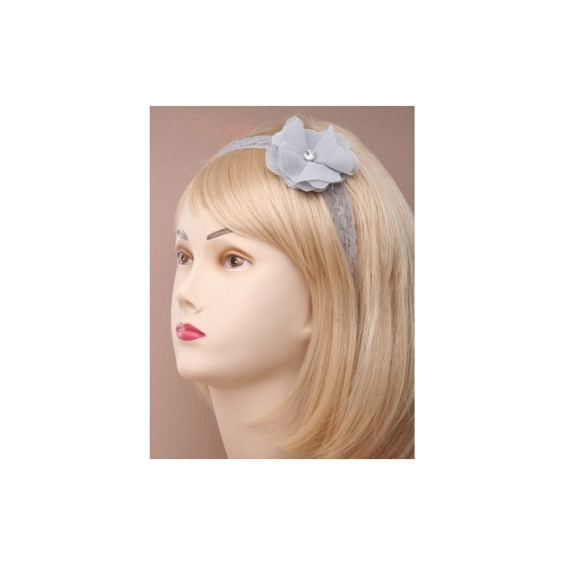 Headband - Raggy edge flower crystal centre lace fabric stretch head band