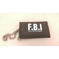 Men's Boys Grey Canvas Wallet, Chain Wallet, FBI Wallet