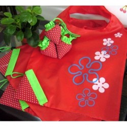 Red Flower Storage Handbag Red Strawberry Foldable Shopping Bags Reusable Bag