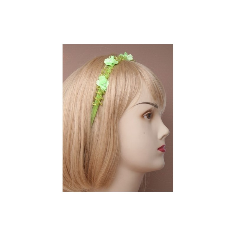 Headband - Fabric flowers pearl bead twist stretch elastic kylie head band