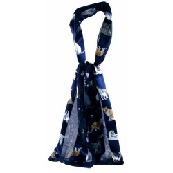 Ladies Scarf - Soft Feel Navy Blue with Cat print Stole Wrap Gorgeous Gift idea