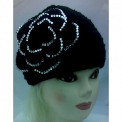 Headband Knitted - Hairband Headwrap with Clear Stone Flower Winter Warmer