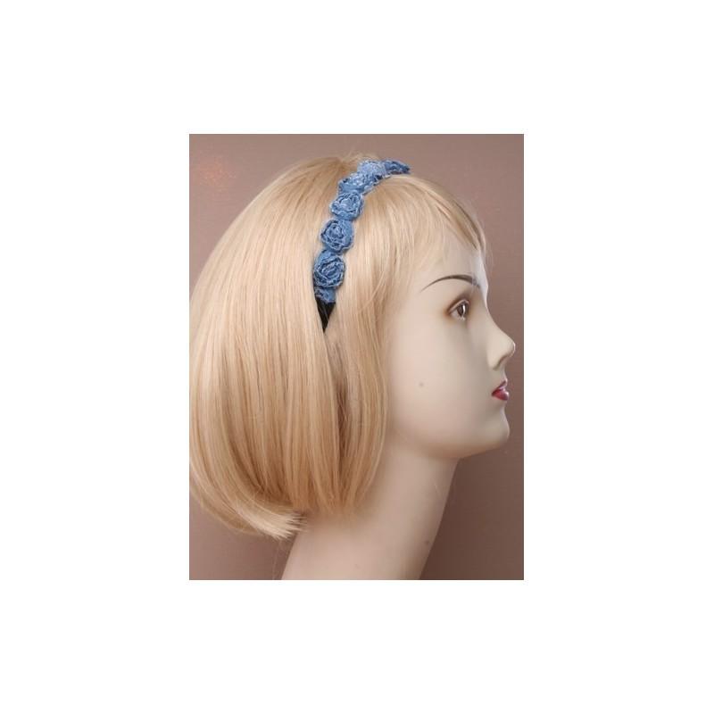 Headband - Denim rosebud row on black elastic stretch head band