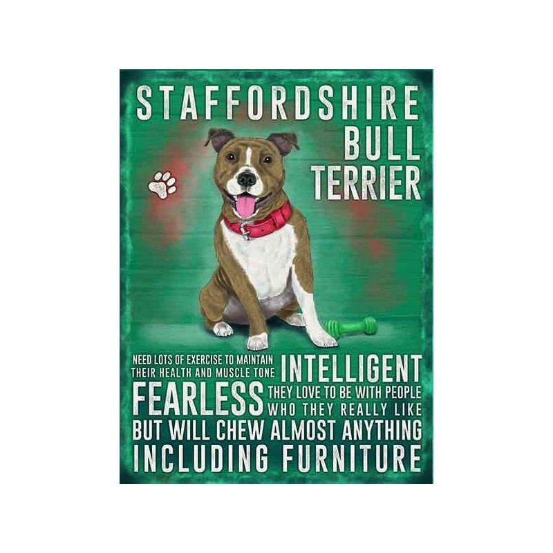 Dog Lover Sign - Staffordshire Bull Terrier 15x20cm sign