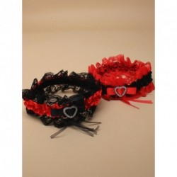 Garter - Black and red lace garter with red and black satin ribbon and centre heart detail in a choice of colourways.