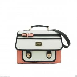 Satchel Bag - Gessy Contrast flap and bow Satchel Bag