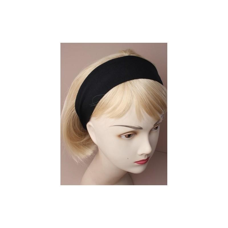 Headband - Black woven fabric wide (6cm) kylie band head band