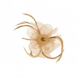 Fascinator Headband Hair band - Nude/Beige Centre net flower and feather fascinator headband aliceband