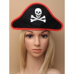 Pirate Hat - Black Pirate skull and crossbones hat on a...