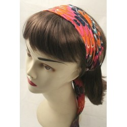 tied multi colour scallop design fabric headwrap. in 4 colourways.