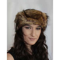 Faux Fur Headband Ear Warmer ski earmuffs Brown camel cameo winter Hair band