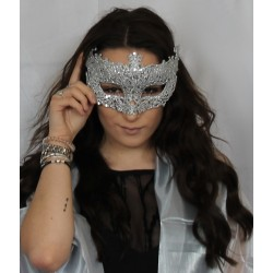 Face Mask - Antique style filigree cut out silver glitter black ribbon tie masquerade mask
