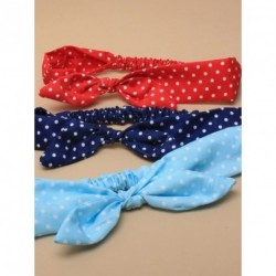 Stretch Headband Bow - Elasticated spotty fabric head band with knotted bow available in Navy, Red, Black or Turquoise