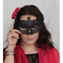 Masquerade Ball glitter Face Mask Black dress up Vintage Lace Style Uni Sex Mask
