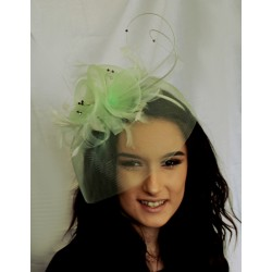 Fascinator - Gorgeous Crin Flower Net and Feather Fascinator diamante detail hair band head band