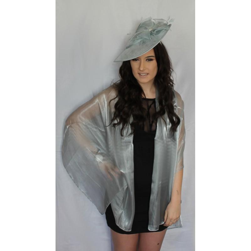 prata escuro / cinza envoltório de seda iridescente roubou xale para casamentos bridemaids de noiva e roupas de noite