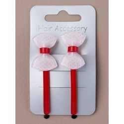 Hair grips - 2 x 6cm grips with strawberry, heart or bow...