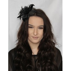 Fascinator Aliceband - Feather flower narrow satin headband alice band