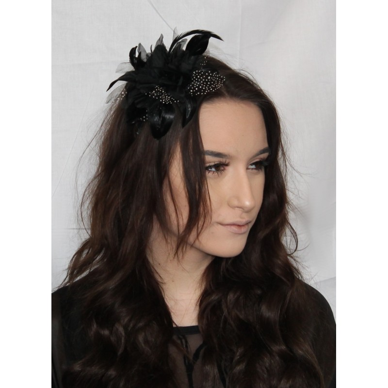 Fascinator Comb - Large Black Flower and Net Fascinator on a Clear Comb.