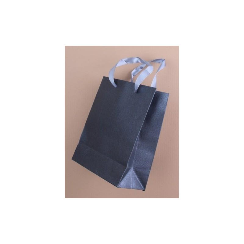 Gift Bag - dark grey metallic gift bag with ribbon handle. size approx. 15x12x6cm
