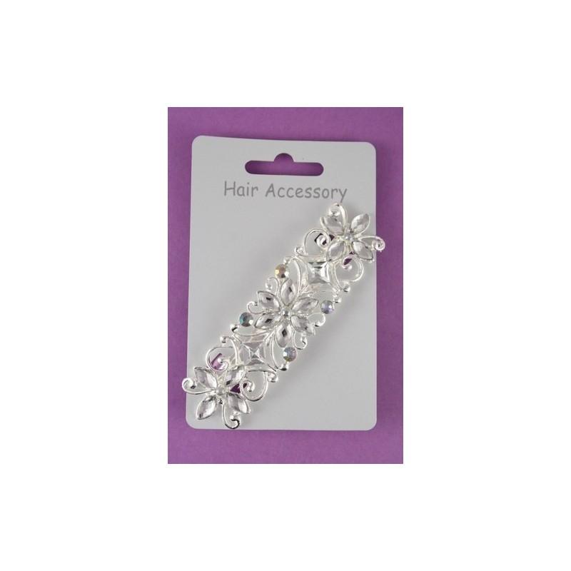 Barrette Hair Clip - 9cm silv crystal flower barrette.