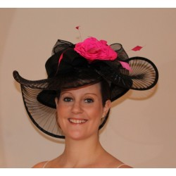 Sinamay Hat decorated with a flower, bow, feather and mess Wedding Parties Races