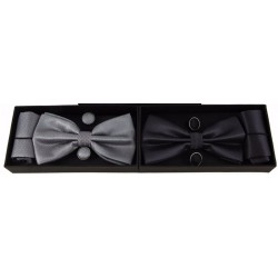 Bow Tie Set - Cufflinks Pocket Square HANDKERCHIEF Mens Boys Boxed Set Prom Best man
